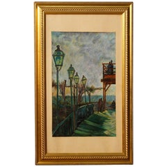 20th Century Mixed-Media Italian Impressionist Signed Landscape Painting, 1960
