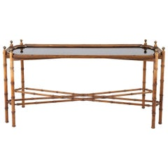 Beech Console with Bamboo Style Legs and Black Composite Tray, 1970s
