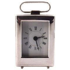 Vintage Silver Travel Clock, 19th Century