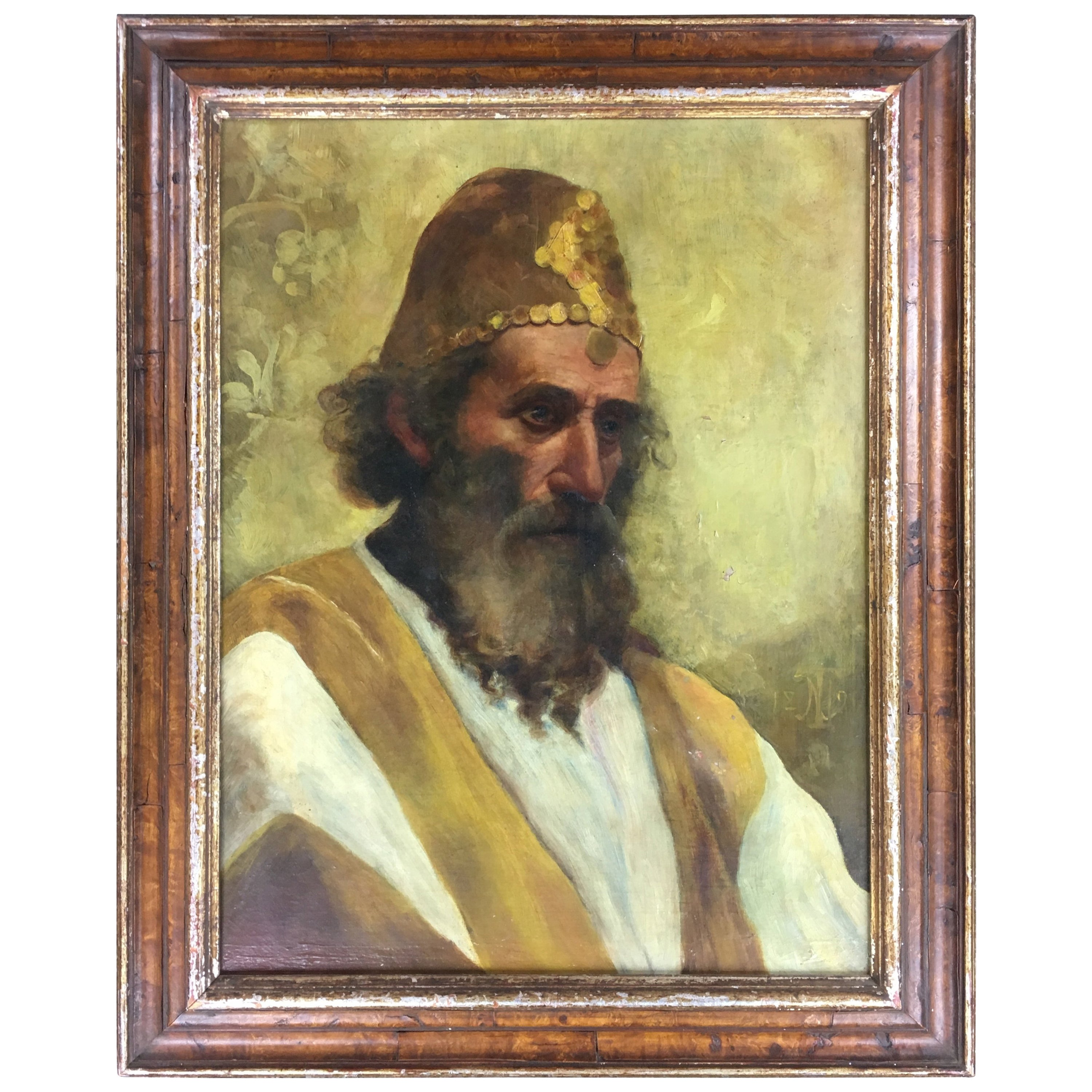 Original 19th Century Oil on Canvas Painting of a Holy Man, Prophet