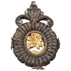 Devotional Pendant with St. George, Silver, 19th Century