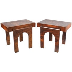 Art Deco Nightstands or Sofa Side Tables from Wood, Italy, circa 1930