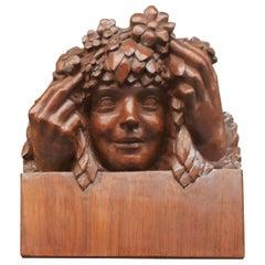 1900 Art Nouveau Sculpture Girl with Flower Wreath