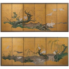 Pair of Japanese Folding Screens with Cranes, Kanō School, 19th Century