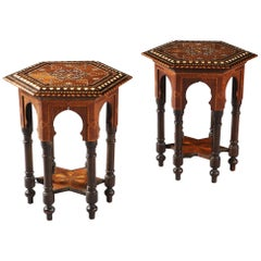 Pair of Arts & Crafts Occasional Tables in the Moorish Taste with Bone Inlay