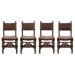 Set of Four 18th Century Spanish Embossed Leather Chairs