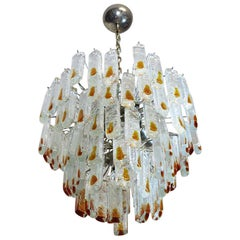 Vintage Murano Chandelier in the Manner of Mazzega, 84 Prism Icicle