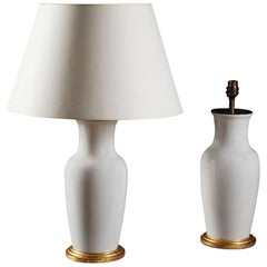 Pair of 20th Century Chinese White Craquele Vases as Table Lamps, Giltwood Bases