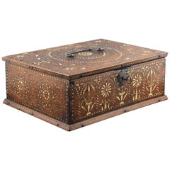 """Pinyonet"" 'Rice Grain' Marquetry Chest Wood, Bone, Iron, Aragon, Spain"