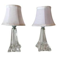 Daum Pair of Crystal Table Lamps, France 1950