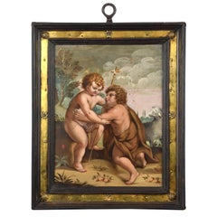 Child Jesus with Saint John the Baptist Child, Oil on Copper, 17th Century