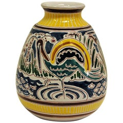 Decorative and Colorful Ceramic Vase by Kåre Berven Fjeldsaa, Norway