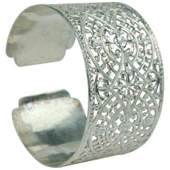 Moroccan Silver Filigree Bracelet Bohemian Jewelry Lace Bangle