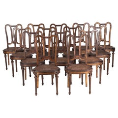 Set of 14 French Style Dining Chairs, Painted Hand Carved Wood with Canned Seats