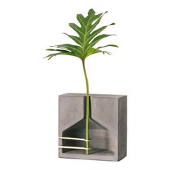 Vase M, Ghost Collection / Contemporary Vase in Concrete and Brass