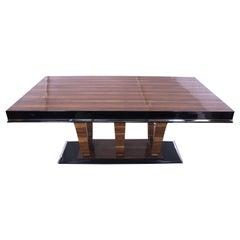 Art Deco Expandable Table, Walnut Veneer and Chrome, France, circa 1930