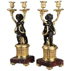Pair of Fine Quality French Late 19th Century Ormolu and Bronze Candelabra