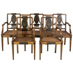 Portuguese Dona Maria Style Room Set, Painted Wood and Canned Seats