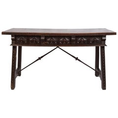 17th Century Spanish Writing Table with Drawers and Hand Carved Details
