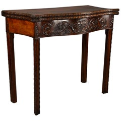 Late 19th Century Mahogany Serpentine Shaped Card Table in the Chippendale Style