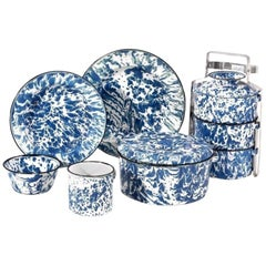 Collection of Early Vintage Blue and White Enamelware