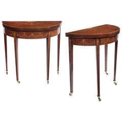 Pair of Matched Edwardian Mahogany and Satinwood Inlaid Card Tables