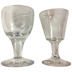 Pair of Hand Etched Masonic Ceremonial Glassware, Couples Set