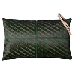 Patterned Cowhide Cushions Seaweed Green and Leather Zip Tassels