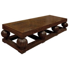 Exceptional 1940s Rosewood Coffee Table in Style of Jacques-Emile Ruhlmann