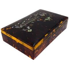 Antique Tortoiseshell Wooden Box, 19th Century