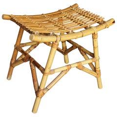 1970s Spanish Bamboo Stool