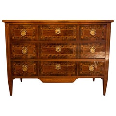 French Louis XVI Period Walnut and Marquetry Commode, circa 1780