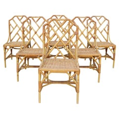 """1970s Set of Six English """"Invincible"""" Cane and Lazed Wicker Chairs by Angraves"""