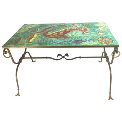 French Ceramic and Wrought Iron Sea Floor Coffee Table, 1940s