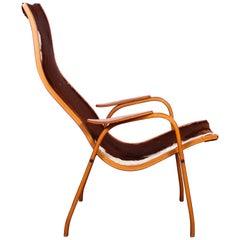 """Midcentury Yngve Ekström Teak """"Kurva"""" Lounge Chair"""