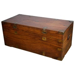19th Century Brass Bound Camphor Wood Travelling Chest