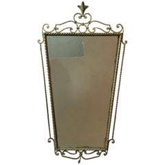 Neoclassical Wall Mirror in Gilt Wrought Iron, France, 1950