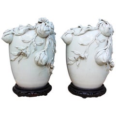 Pair of Chinese Light Green Tee Porcelain Vases