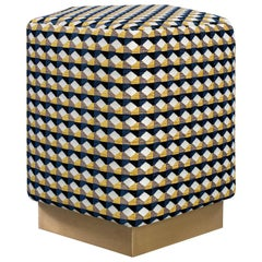 Ermes Pentagon Rio Pouf with Curvature Collection and Brass or Steel Plinth