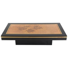 Signed Denisco Center Table with Gold Engraved Top