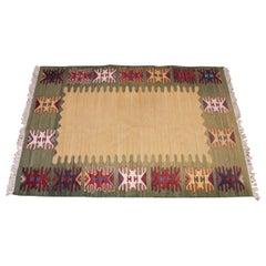 Midcentury Swedish Flat-Weave Carpet Signed HH, Helge Hamnert