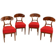 Four Biedermeier Shovel Chairs, Walnut, Vienna/Austria, circa 1845