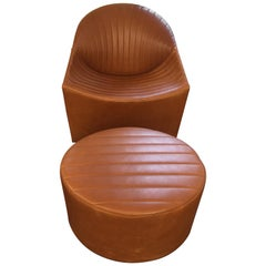 Natural Leather Oyster Extra Large Armchair with Ottomann
