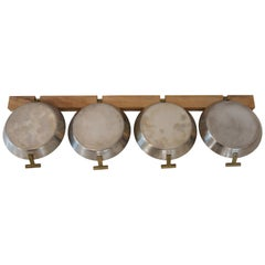 4 Small Pans with a Wooden Rack