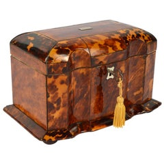 Early 19th Century English Regency Tortoise Shell Shaped Front Tea Caddy