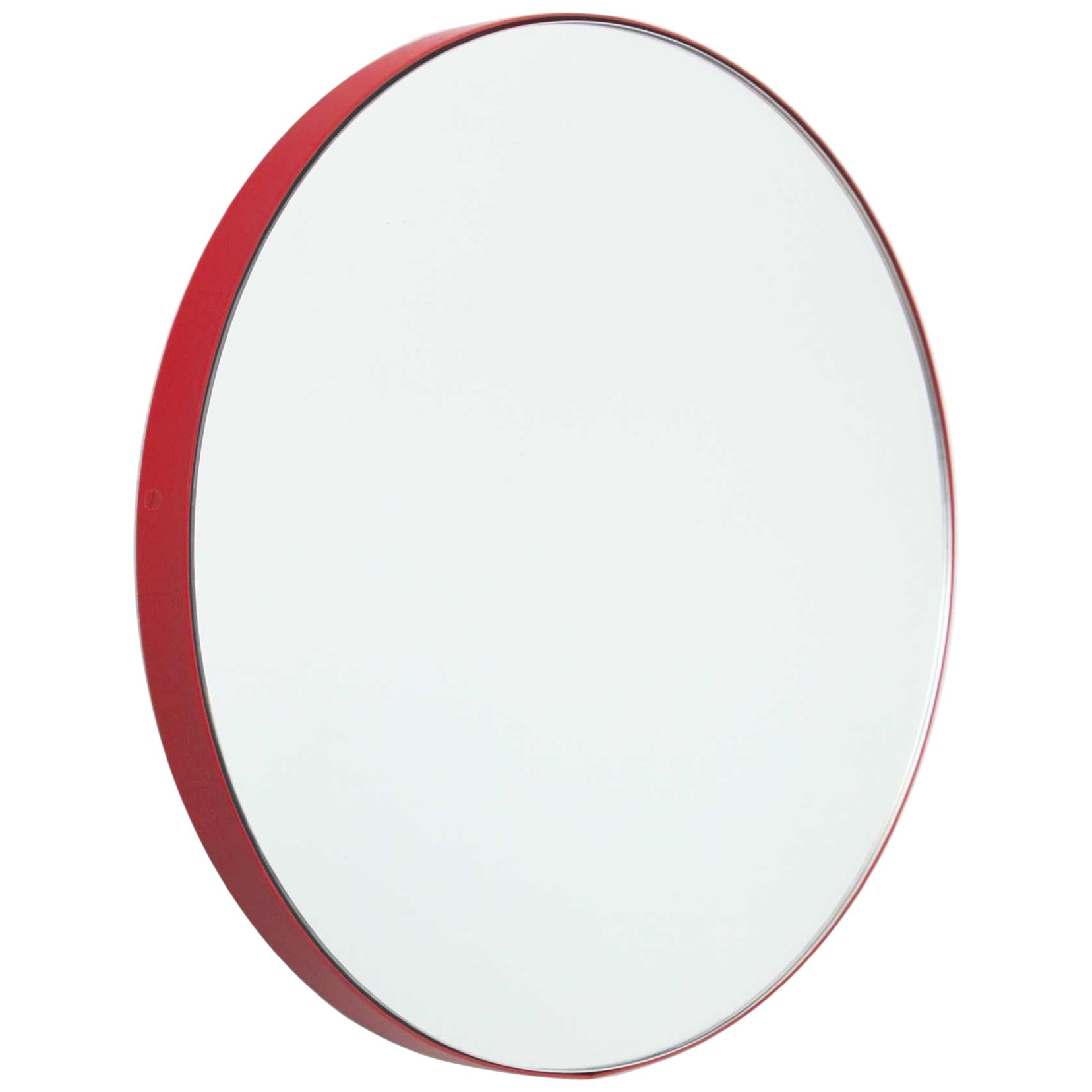 Orbis™ Round Contemporary Bespoke Mirror with Red Frame - Small
