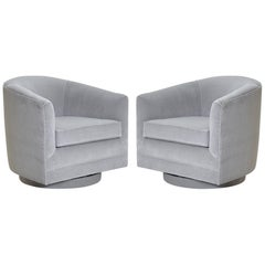 Swivel Tub Chairs in Dove Velvet, Pair