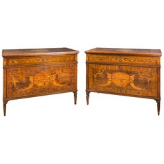 Pair of Wooden Commodes Inlaid in Soft Woods, Piacenza, 18th Century