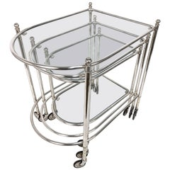 Maison Jansen Silver Plated Brass, Rolling Nesting Tables with Wheels, France