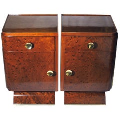 Jean Pascaud Pair of French Art Deco Side Tables or Nightstands